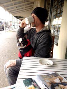 Mal enjoys Maldon coffee